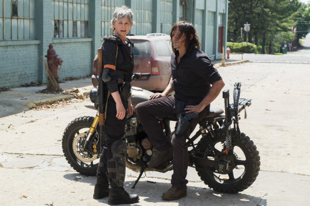 <p>Melissa McBride as Carol Peletier and Norman Reedus as Daryl Dixon in AMC's <i>The Walking Dead</i>.<br>(Photo: Gene Page/AMC) </p>