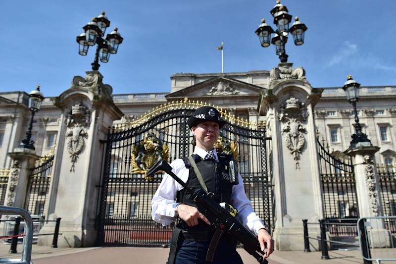 An armed police officer outside Buckingham Palace (file photo): PA Wire/PA Images