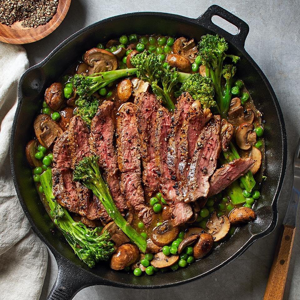 <p>This steak, broccoli rabe and pea dinner is a one-skillet meal that will be on your table in just 25 minutes! The pan drippings combine with mushroom, broth and grainy mustard to make a thick and delicious sauce.</p>