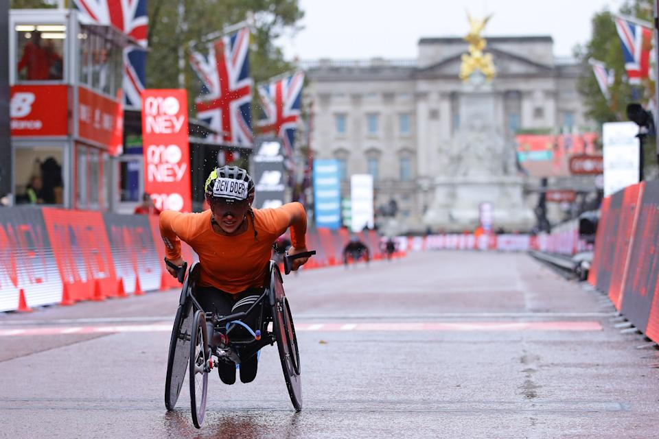Netherlands' Nikita Den Boer crosses the line to win the women's elite wheelchair race at the 2020 London Marathon in central London on October 4, 2020. (Photo by Richard Heathcote / POOL / AFP) (Photo by RICHARD HEATHCOTE/POOL/AFP via Getty Images)