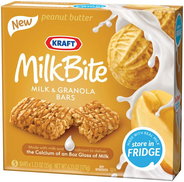 This product photo provided by Kraft Foods Inc., shows a box of peanut butter Kraft Milk Bite, milk and granola bars. On-the-go Americans are increasingly consuming their morning calories over several hours instead of sitting down to devour a plate of pancakes, bacon and eggs in one sitting. (AP Photo/Kraft Foods Inc.)