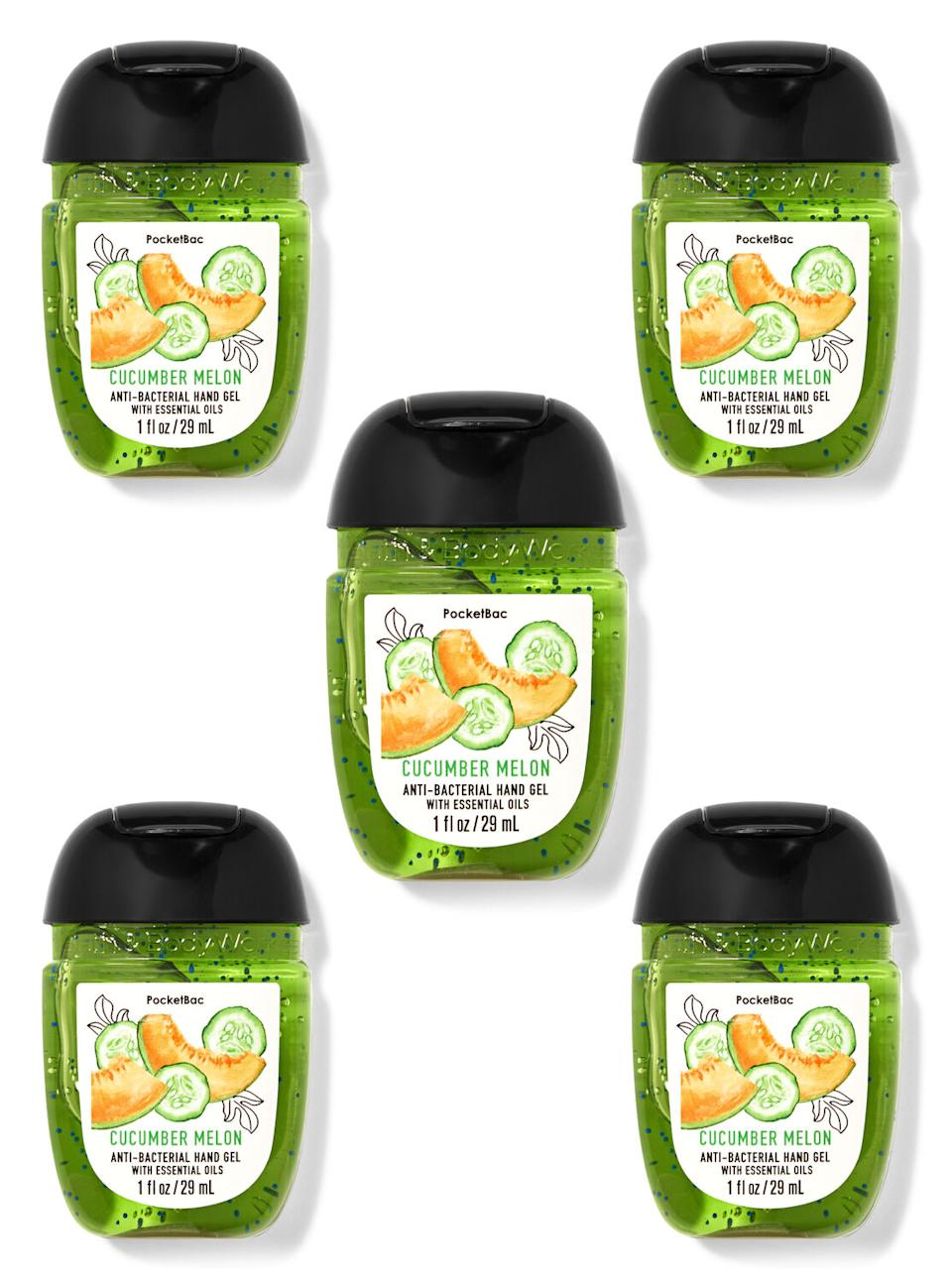 Cucumber Melon PocketBac Hand Sanitizers 5-Pack. Image via Bath and Body Works.