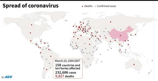 Countries and territories with confirmed new coronavirus cases as of March 19 at 1900 GMT