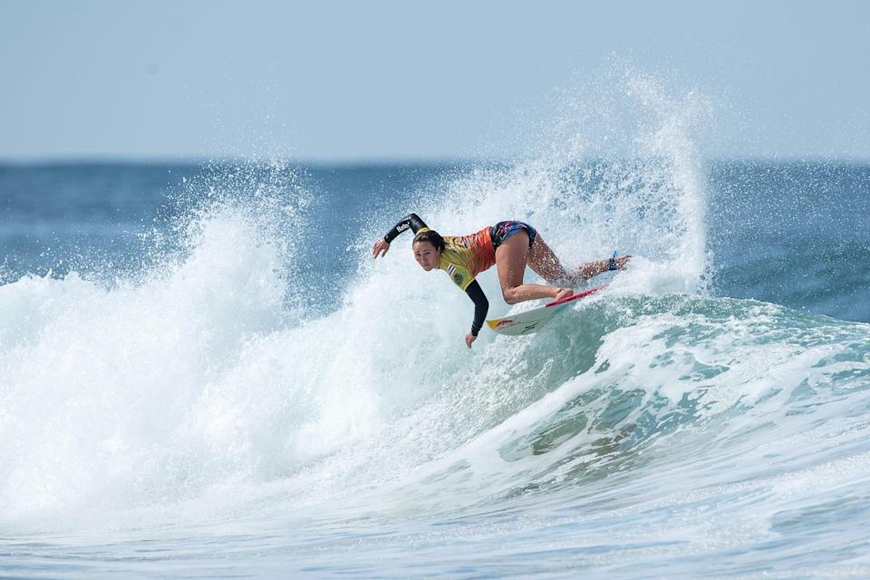 Carissa Moore competes in the semifinal of the Rip Curl Narrabeen Classic at Narrabeen Beach in Sydney, Australia, on April 20, 2021.