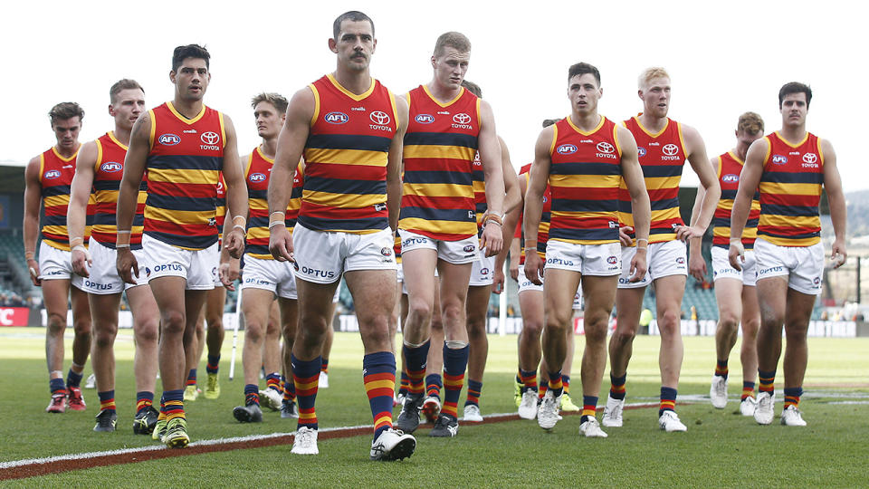 Despite a record-breaking first half, the Adelaide Crows suffered a disappointing loss to Hawthorn over the weekend. (Photo by Daniel Pockett/Getty Images)