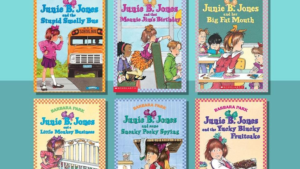Collage of Junie B. Jones book covers, six covers featuring titular character Junie B. Jones, a girl with short hair and a bow in her hair