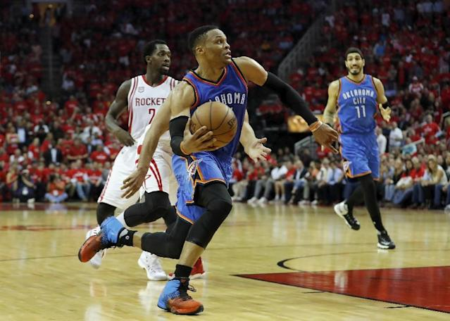 Oklahoma City Thunder Russell Westbrook, pictured during the quarterfinals against the Houston Rockets on April 19, 2017, used profane language in an interview following his team's 115-111 loss that gave the Rockets a 2-0 lead in the series (AFP Photo/Tim Warner)