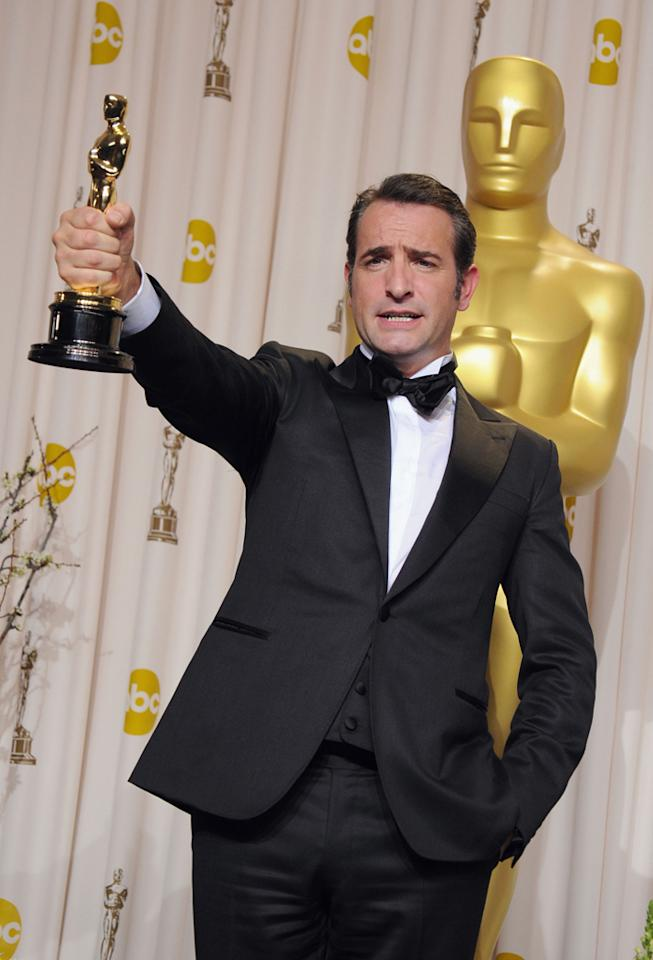 Jean Dujardin, winner of the Best Actor Award for 'The Artist,' poses in the press room at the 84th Annual Academy Awards held at the Hollywood & Highland Center on February 26, 2012 in Hollywood, California.
