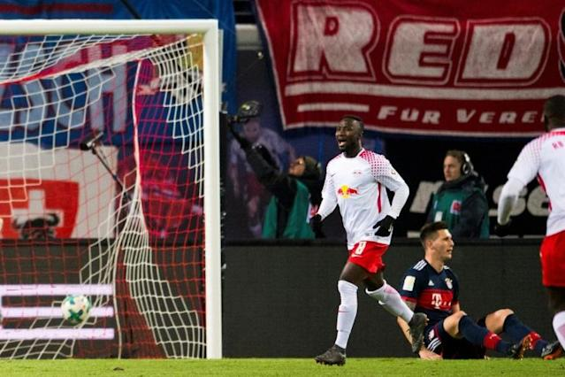 Leipzig's midfielder Naby Keita celebrates scoring against Bayern Munich