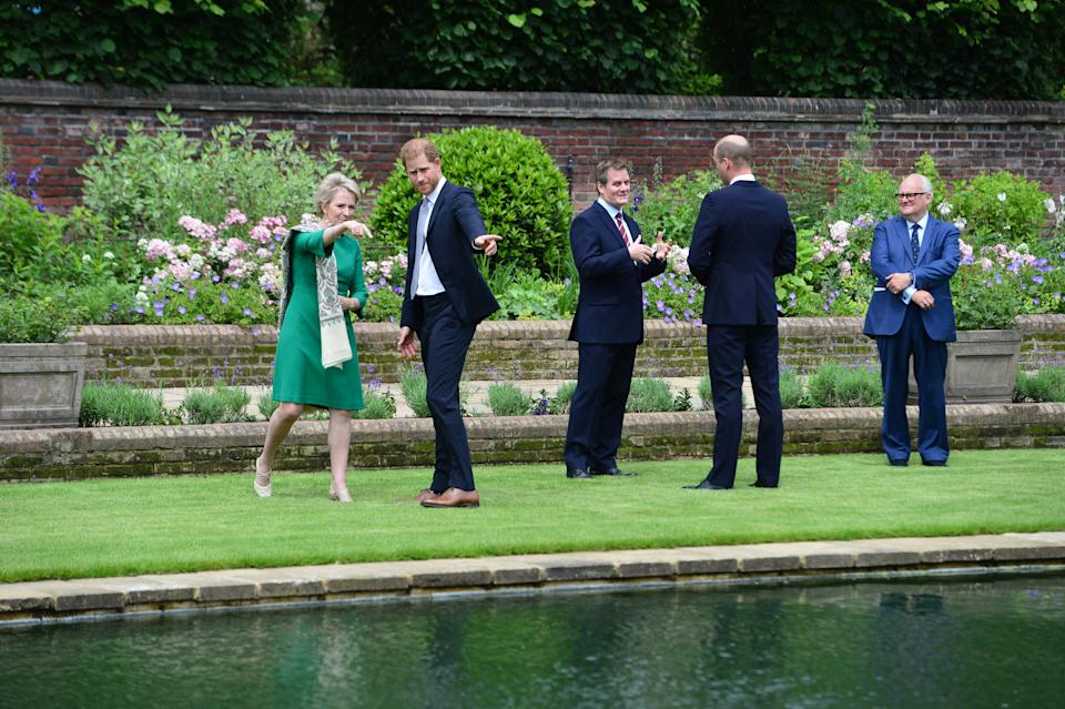 The Duke of Sussex ahead of the unveiling of a statue they commissioned of their mother Diana, Princess of Wales, in the Sunken Garden at Kensington Palace, London, on what would have been her 60th birthday. Picture date: Thursday July 1, 2021.