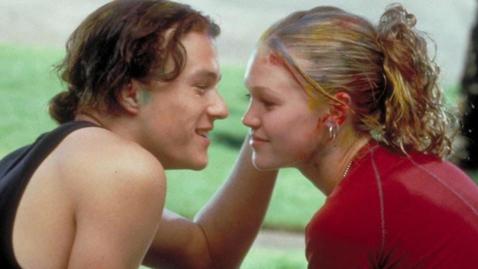 <p> Part of the great &apos;90s trend of turning literary classics into teen comedies (including Clueless and She&#x2019;s All That), 10 Things I Hate About You reimagines Shakespeare&#x2019;s The Taming of the Shrew in an American high school. A Shakespeare comedy isn&#x2019;t a Shakespeare comedy without an elaborate scheme &#x2013; Cameron tries to woo Bianca, but her father has ruled that she can only date once her antisocial, rebellious older sister Kat does. And so, local bad boy Patrick is enlisted to help seduce Kat and overrun the rule.&#xA0; </p> <p> Of course, it&#x2019;s all about Heath Ledger as Patrick, running up and down the school bleachers while serenading Kat with &#x201C;Can&#x2019;t Take My Eyes Off You&#x201D;. The film is filled with the sort goofy romanticism that teens absolutely adore, although just as deserving of a shout-out is Julia Stiles&#x2019; Kat and her own big scene, where she tearfully recites an achingly earnest poem about love.&#xA0; </p>