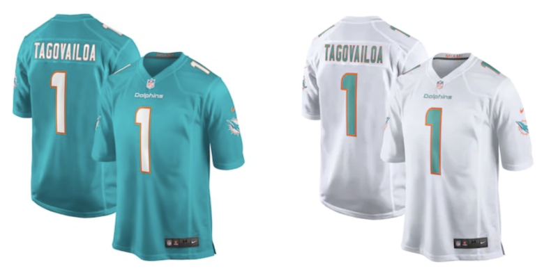 Here are the top two selling NFL jerseys currently, both of Tua Tagovailoa.