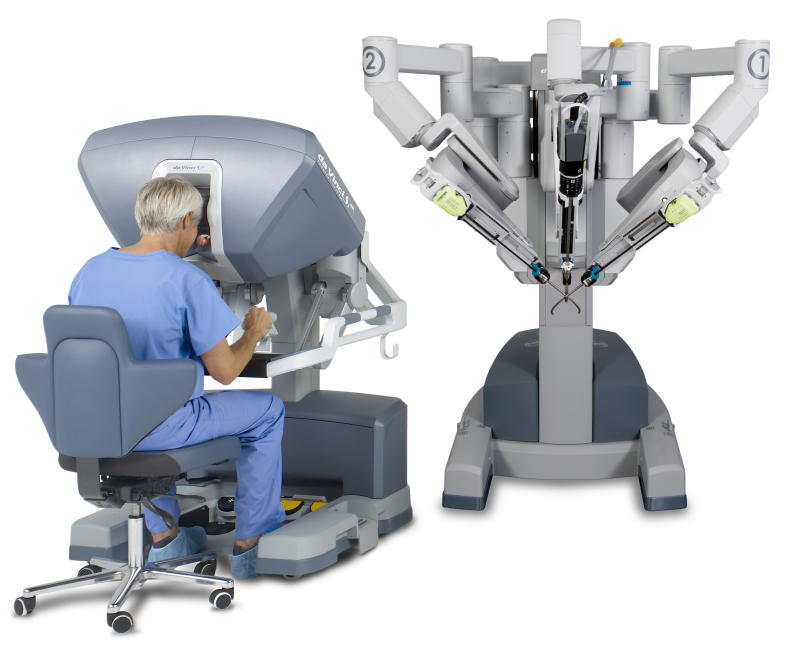 Doctor at console of Intuitive Surgical's da Vinci robotic surgical system