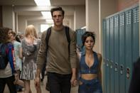 <p>These two high school hotties walk through the halls like they own them, because well, they kind of do. A power couple, yet also a crumbling couple, this twosome is bad for each other in every single way. It's a shame though because they really do look good together.</p> <p><strong>What to wear</strong>: Get into Nate mode with a blank yet overpowering stare and a casual cool-boy outfit. A loose long-sleeve with black jeans and sneakers are all you really need here. Add a black backpack to give him his high school touch. Maddie's look requires jean on jean, but make it extra hot. Her low scoop top and cut-out jeans are the epitome of seductive style. Don't forget her diamond cross necklace.</p>