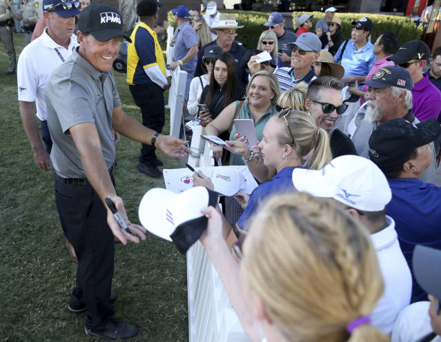 Phil Mickelson signs autographs after finishing the 18th hole during the second round of Shriners Hospitals for Children Open golf tournament at TPC Summerlin in Las Vegas on Friday, Oct. 4, 2019. (K.M. Cannon/Las Vegas Review-Journal)