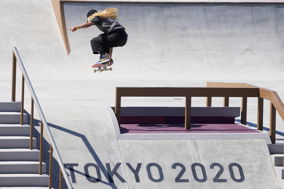 Lore Bruggeman of Belgium trains during a street skateboarding practice session at the 2020 Summer Olympics, Friday, July 23, 2021, in Tokyo, Japan. (AP Photo/Markus Schreiber)