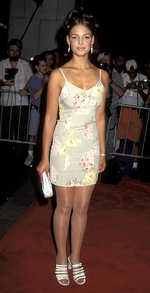 """2. <a href=""""http://movies.yahoo.com/movie/1800242839/info"""">Something to Talk About</a> NYC premiere (1995)   In the mid '90s, floral minis, sheer stockings, clunky kicks, and lip liner were all the rage, though very few women dared to don all of the tragic trends at once. Apparently, Katherine Heigl was one of those fearless, fashion-challenged females."""