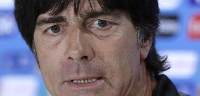 German national soccer team head coach Joachim Loew attends a news conference after an official training session one day before the World Cup semifinal soccer match between Brazil and Germany at the Mineirao Stadium in Belo Horizonte, Brazil, Monday, July 7, 2014. (AP Photo/Matthias Schrader)
