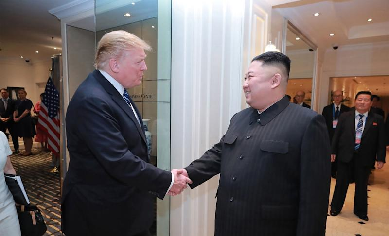 North Korean leader Kim Jong Un and US President Donald Trump shake hands in Hanoi where their summit was seen as a disappointment