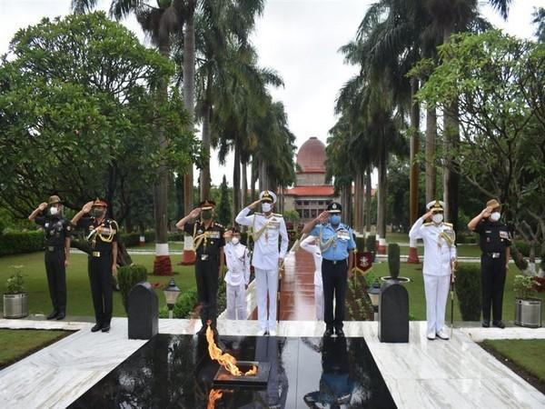 Three chiefs of the Indian Army, Navy, and Air Force visited alma mater NDA in Pune on August 20-21. Photo source: PIB
