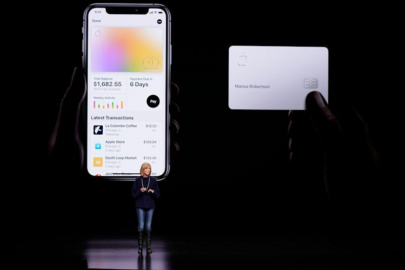 FILE- In this Monday, March 25, 2019, file photo, Jennifer Bailey, vice president of Apple Pay, speaks about the Apple Card at the Steve Jobs Theater during an event to announce new products in Cupertino, Calif. Apple is hoping a credit card will entice more iPhone owners to use Apple Pay. (AP Photo/Tony Avelar, File)