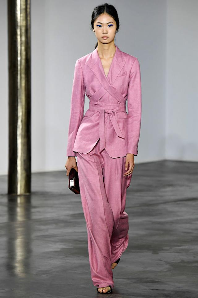 <p>A model shows off a pantsuit from Gabriela Hearst's spring/summer 2019 fashion collection during New York Fashion Week. (Photo: Victor Virgile/Gamma-Rapho) </p>