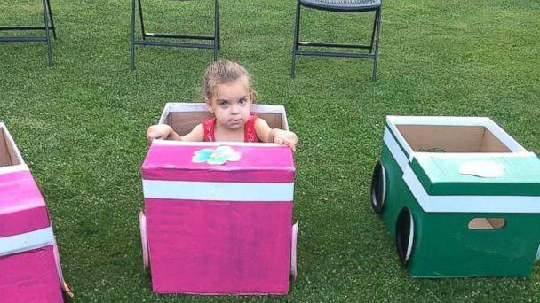 PHOTO: Sherry Pratt of North Jackson, Ohio, built homemade cars out of boxes for the children in their family to enjoy a backyard drive-in movie. (Courtesy of Jessie Woods)