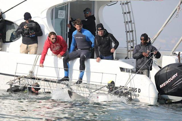 "<a class=""link rapid-noclick-resp"" href=""/olympics/rio-2016/a/1160694/"" data-ylk=""slk:Michael Phelps"">Michael Phelps</a> and the crew watch a shark approach the cage, which Phelps is about to enter. (Photo: Discovery)"