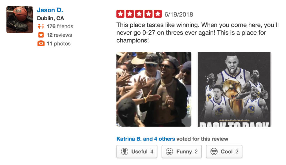 Warriors fans responded to negative reviews from Rockets fans with five-star ratings. (Yelp)