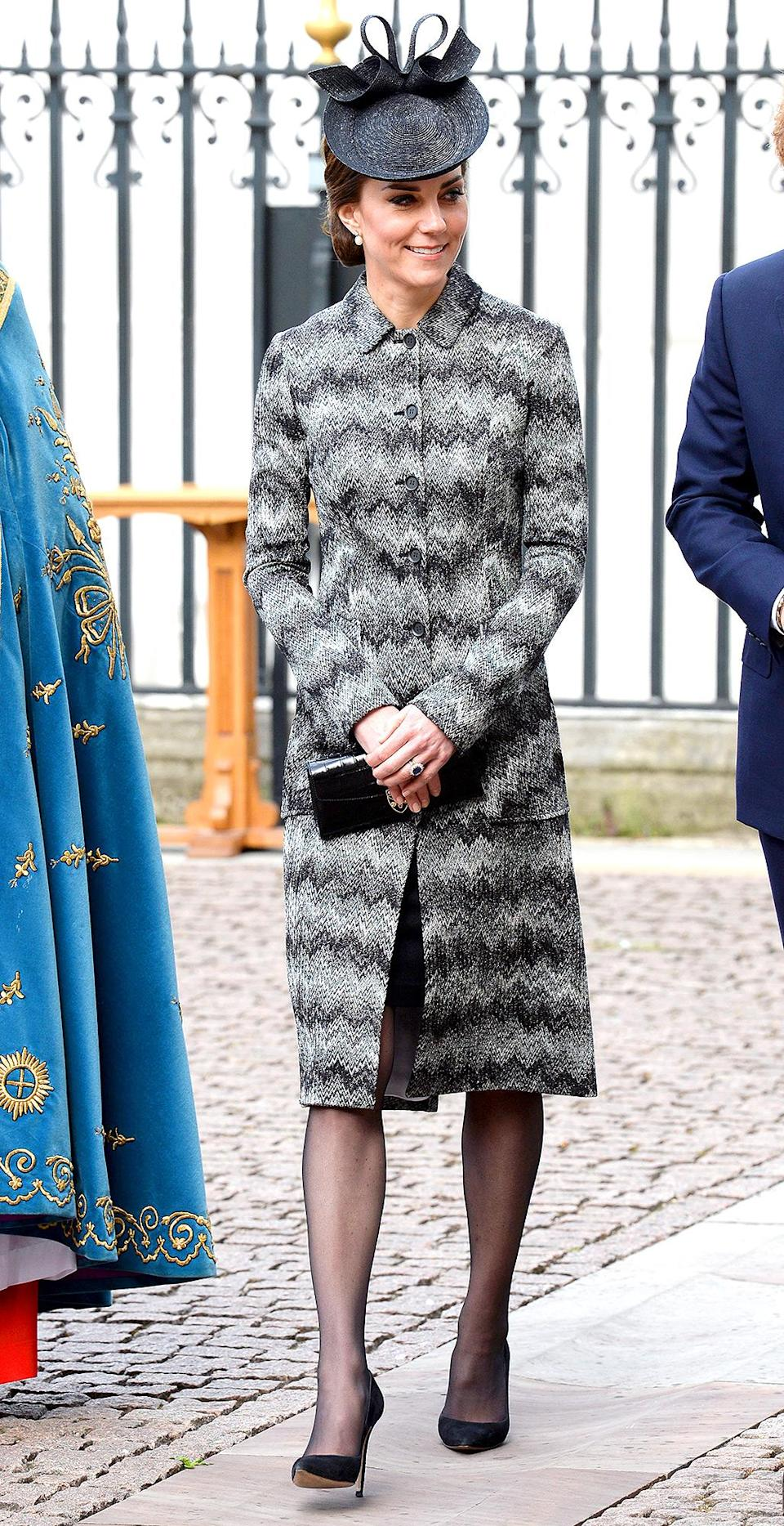 """<p><b>When:</b> April 5, 2017 <b>Where:</b> A Service of Hope for victims of the Westminster attacks at Westminster Abbey <b>Wearing:</b> A Missoni Coat <b>Get the Look: </b>Cole Haan Asymmetrical Walker Coat, $170; <a href=""""https://click.linksynergy.com/fs-bin/click?id=93xLBvPhAeE&subid=0&offerid=486467.1&type=10&tmpid=1513&RD_PARM1=https%3A%2F%2Fwww.macys.com%2Fshop%2Fproduct%2Fcole-haan-signature-asymmetrical-walker-coat%3FID%3D4831171%2526CategoryID%3D269%2526swatchColor%3DBlack%252Fwhite&u1=POROYALSKateSpringStyleMM"""" rel=""""nofollow noopener"""" target=""""_blank"""" data-ylk=""""slk:macys.com"""" class=""""link rapid-noclick-resp"""">macys.com </a>Monki Check Print Tailored Coat, $103; <a href=""""https://click.linksynergy.com/fs-bin/click?id=93xLBvPhAeE&subid=0&offerid=460292.1&type=10&tmpid=20904&RD_PARM1=http%3A%2F%2Fus.asos.com%2Fmonki%2Fmonki-check-print-tailored-coat%2Fprd%2F8973427%3Fclr%3Dgray%2526SearchQuery%3Dgrey%2520coat%2526gridcolumn%3D2%2526gridrow%3D4%2526gridsize%3D4%2526pge%3D1%2526pgesize%3D72%2526totalstyles%3D82&u1=POROYALSKateSpringStyleMM"""" rel=""""nofollow noopener"""" target=""""_blank"""" data-ylk=""""slk:asos.com"""" class=""""link rapid-noclick-resp"""">asos.com</a></p>"""