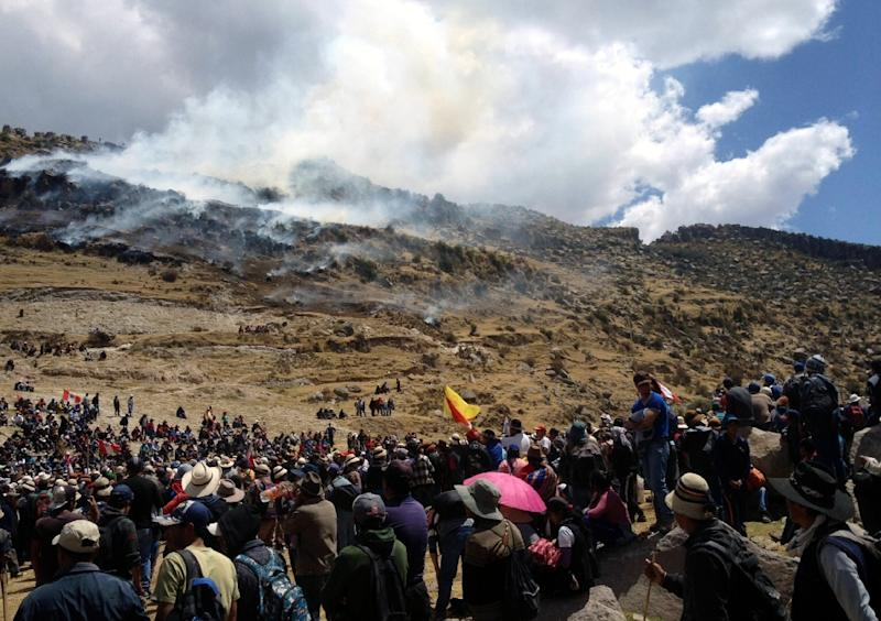 People protest by the Las Bambas mine project in Peru on September 28, 2015