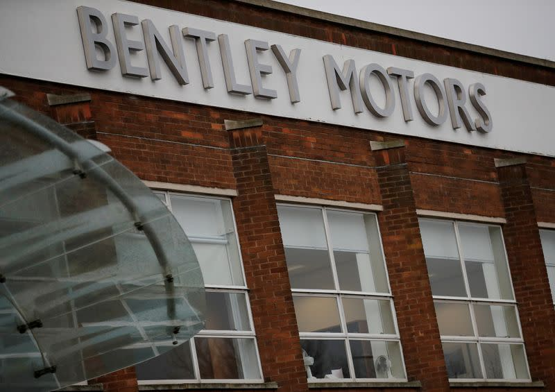 FILE PHOTO: Signage is seen outside the Bentley Motors factory in Crewe