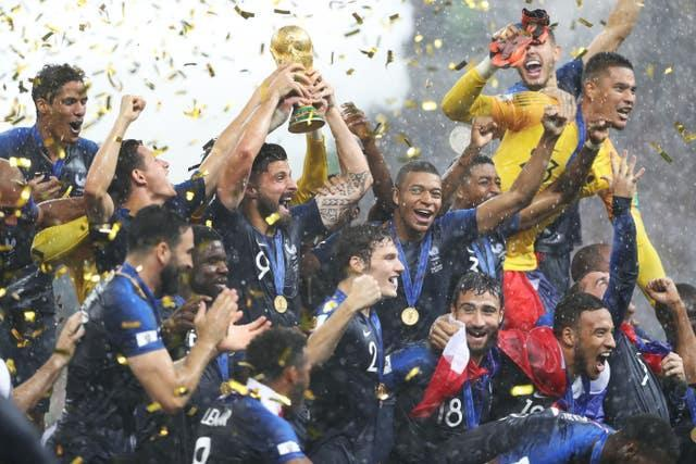 France celebrate winning the World Cup