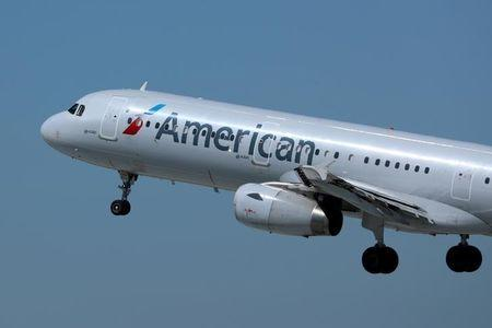 FILE PHOTO: An American Airlines plane takes off from Los Los Angeles International airport