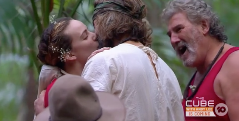 Abbie and Ash shared a steamy kiss at their 'wedding' on the show. Photo: Channel 10.