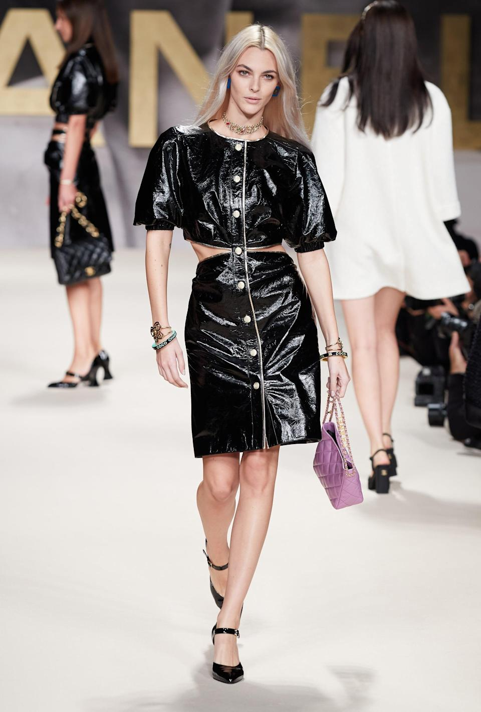 <p>Crinkled patent leather (or vinyl) must be done right, and Virginia Viard nailed it.</p>