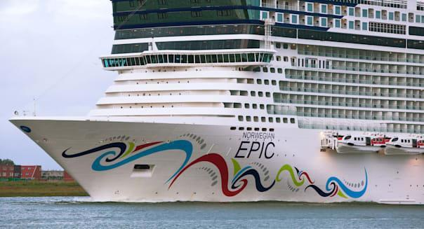 bow of the Norwegian Cruise Line's (NCL) cruise ship Norwegian Epic inaugural cruise from Rotterdam, Netherlands to Southampton.