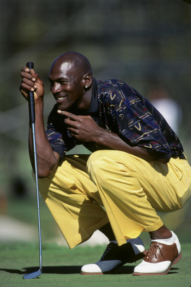Michael Jordan looks on during the Isuzu Celebrity Golf Tournament on July 7, 1995 in Lake Tahoe, Nevada. (Photo by Rocky Widner/NBAE via Getty Images)