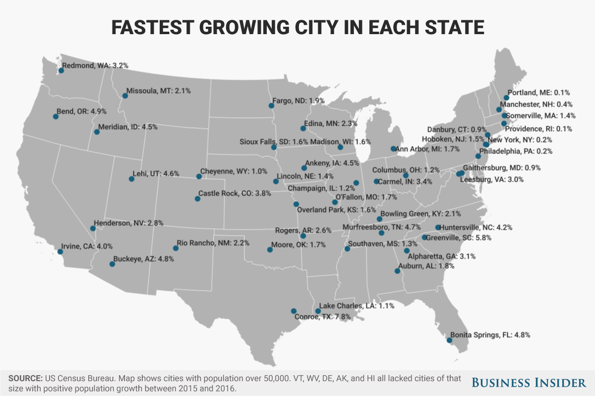 fastest growing city in each state 2017
