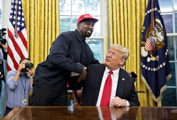 PHOTO: Rapper Kanye West shakes hands with President Donald Trump during a meeting in the Oval Office of the White House, Oct. 11, 2018. (Bloomberg via Getty Images, FILE)