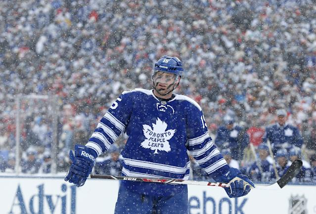 Toronto Maple Leafs defenseman Paul Ranger (15) skates during a break in the first period of the Winter Classic outdoor NHL hockey game against the Detroit Red Wings at Michigan Stadium in Ann Arbor, Mich., Wednesday, Jan. 1, 2014. (AP Photo/Paul Sancya)