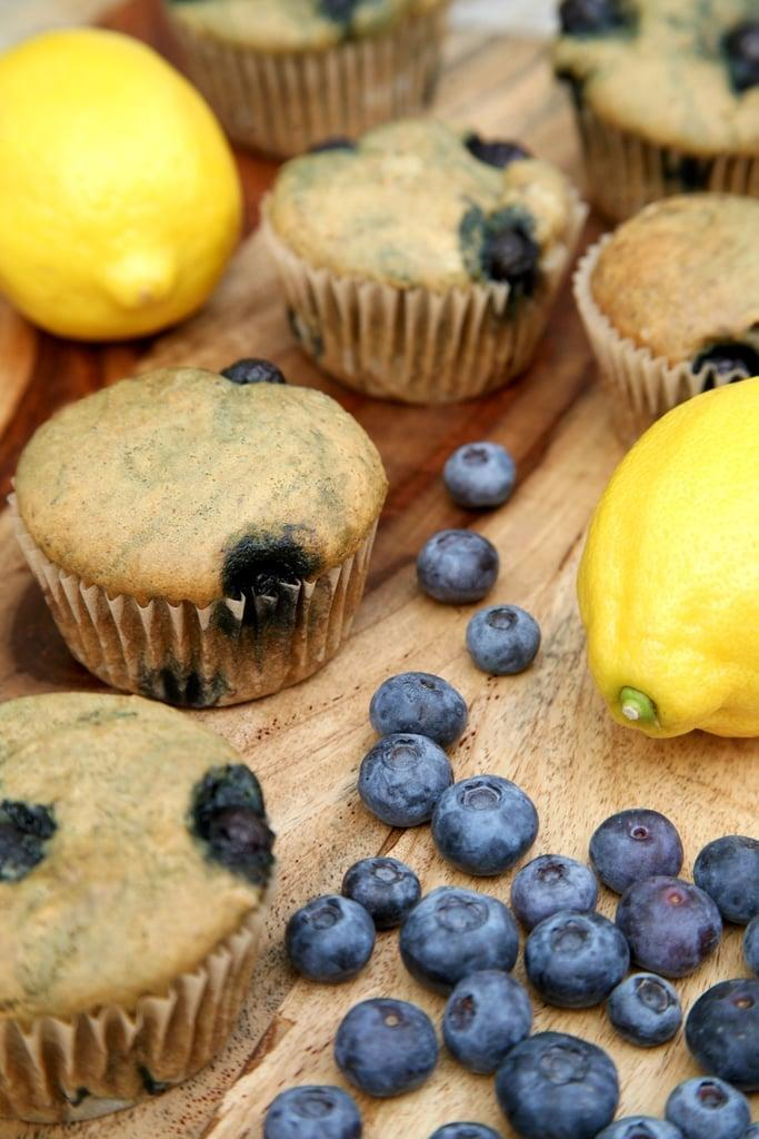"<p>With fewer than nine grams of sugar per muffin, these light and moist muffins - deliciously sweetened with lemon juice and blueberries - are sure to satisfy your decadent brunch cravings.</p> <p><strong>Calories:</strong> 150 per muffin<br> <strong>Protein:</strong> 6 grams</p> <p><strong>Get the recipe:</strong> <a href=""https://www.popsugar.com/fitness/Healthy-Lemon-Blueberry-Muffins-40194603"" class=""link rapid-noclick-resp"" rel=""nofollow noopener"" target=""_blank"" data-ylk=""slk:lemon blueberry protein muffins"">lemon blueberry protein muffins</a></p>"