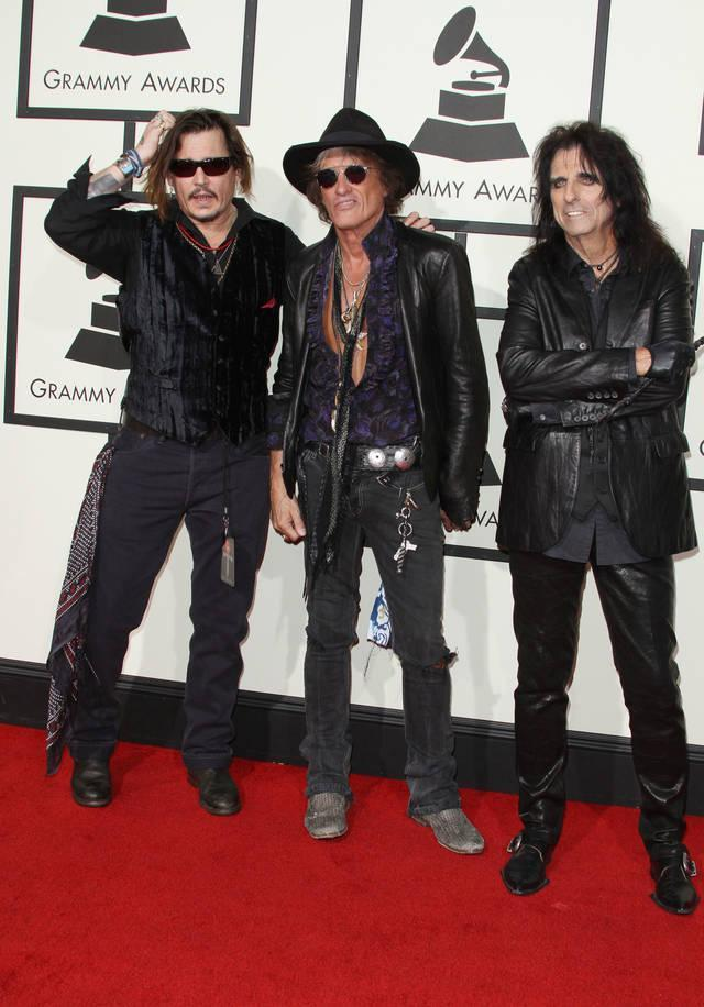 Depp with fellow Hollywood Vampires Joe Perry and Alice Cooper (Credit: WENN)