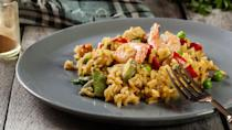 <p><strong>Cost:</strong> $3.49</p> <p>Poultry and shellfish play nicely together, especially in flavorful meals like this lean offering. It's super-light, at only 220 calories and 2.5 grams of fat, but boasts 15 grams of protein, 12% of your day's fiber, and significant quantities of vitamins A, B and C as well as phosphorus, selenium, manganese and other important minerals.</p>