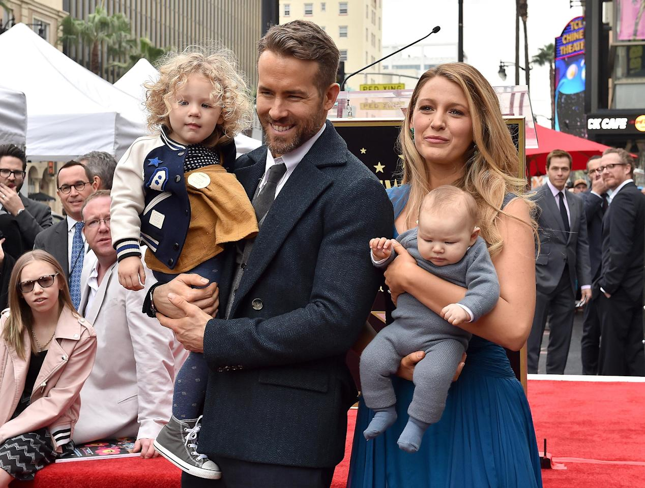 The first time we got a glimpse of their adorable family was at Reynolds' Walk of Fame ceremony in December 2016.