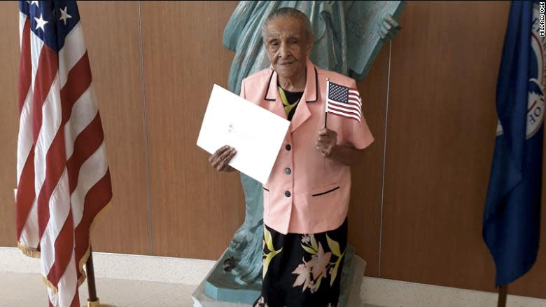 On Flag Day, Andrea Joseph became a naturalized U.S. citizen at the age of 103 in Miami. (Credit: WPLG News)