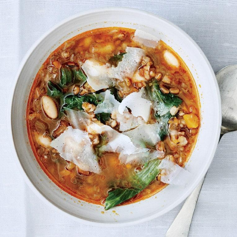 """Instead of pasta, which often becomes mushy when reheated in soup, spelt stays chewy and tender. <a href=""""https://www.epicurious.com/recipes/food/views/toasted-spelt-soup-with-escarole-and-white-beans-51210020?mbid=synd_yahoo_rss"""" rel=""""nofollow noopener"""" target=""""_blank"""" data-ylk=""""slk:See recipe."""" class=""""link rapid-noclick-resp"""">See recipe.</a>"""