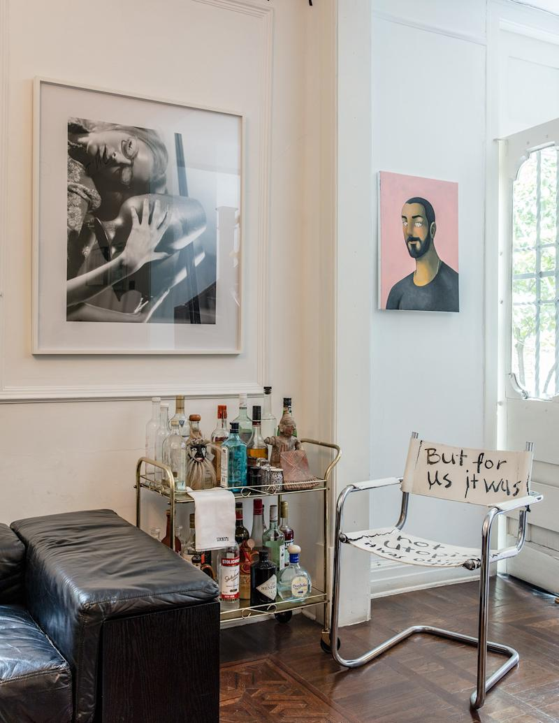 The bar area, with works by Bernadette Corporation, Julien Ceccaldi, and Paulina Olowska.