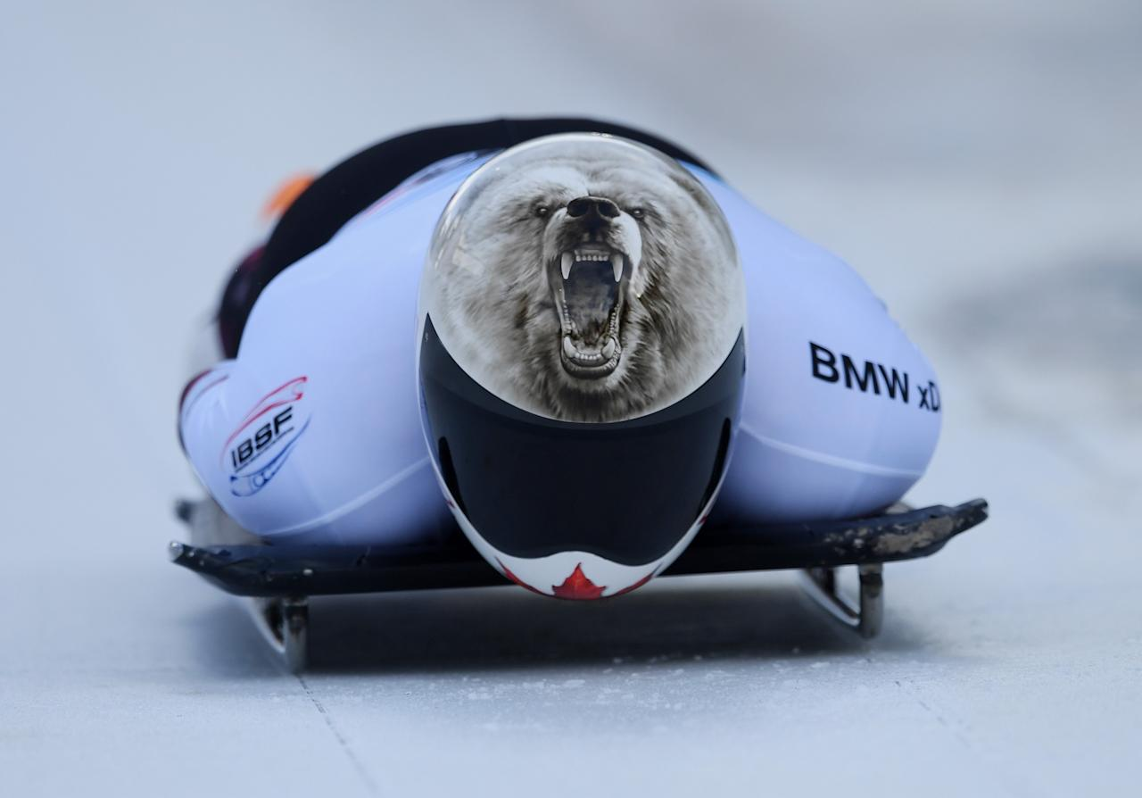 <p>INNSBRUCK, AUSTRIA – FEBRUARY 03: Barrett Martineau of Canada competes during the Men's Skeleton first run of the BMW IBSF World Cup at Olympiabobbahn Igls on February 3, 2017 in Innsbruck, Austria. (Photo by Matthias Hangst/Getty Images For IBSF) </p>