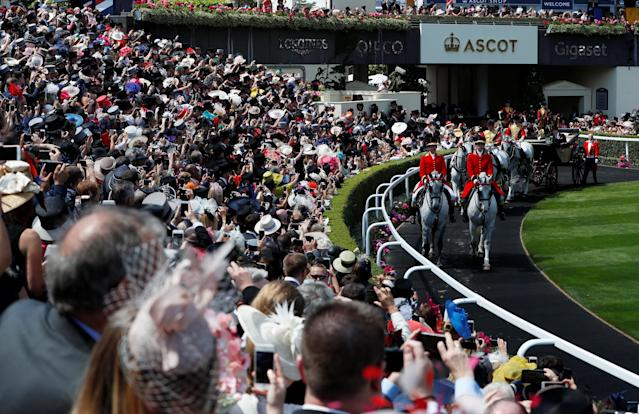 Horse Racing - Royal Ascot - Ascot Racecourse, Ascot, Britain - June 22, 2018 General view of Britain's Queen Elizabeth during the royal procession before the start of the racing Action Images via Reuters/Paul Childs
